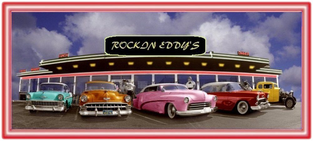 Rockin Eddy's 50s Drive-in Diner with 1950s cars in front.